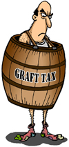 Man wearing barrel labeled 'Graft Tax'