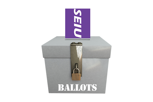 SEIU Logo Inserted into Ballot Box