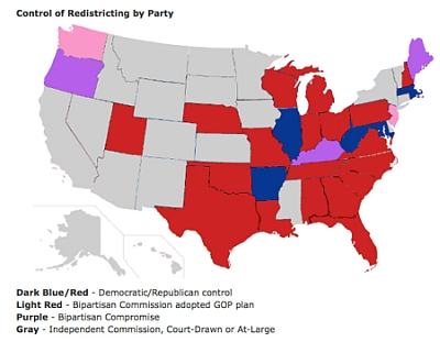 Map: Control of redistricting by party.
