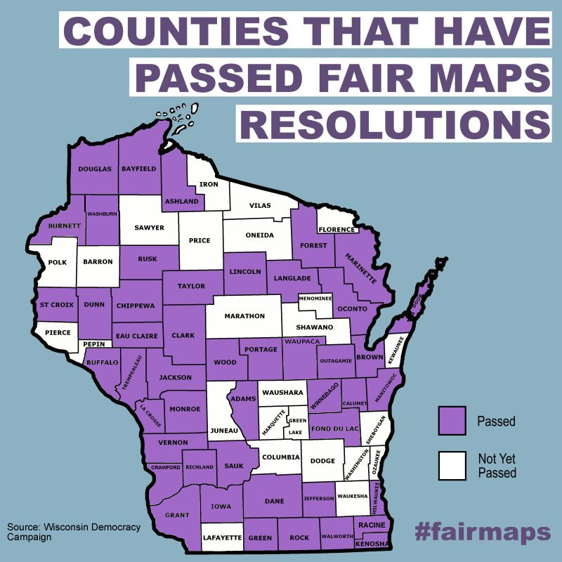 Counties That Have Passed Fair Map Resolutions