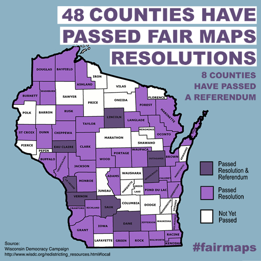 Counties that have passed maps or resolutions