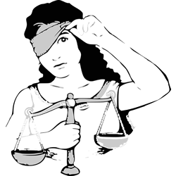 Lady Justice Peaking from Under Blindfold