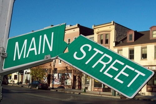 Broken Main Street Sign