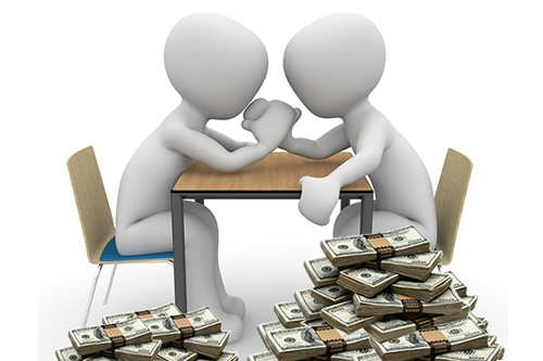 Faceless Figures Arm Wrestling with Cash