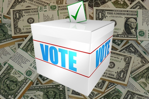 Ballot Box with Dollar Bills in Background