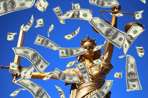 Cash Raining Down on Lady Justice