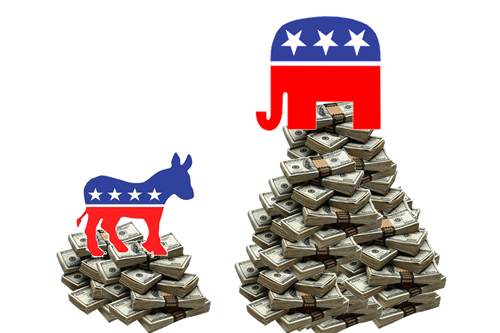 Democratic Donkey and Republican Elephant on Piles of Money