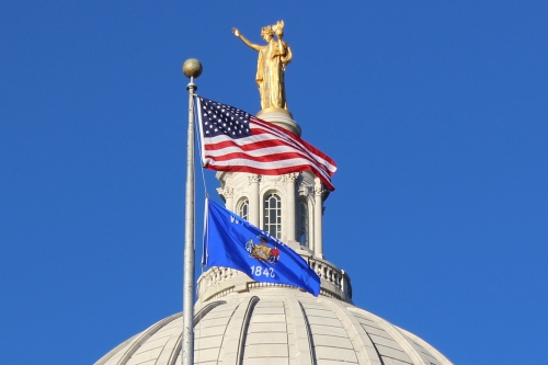 American and Wisconsin Flags Over the State Capitol Dome