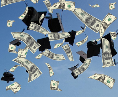 Graduation Caps and Dollars Falling from the Air