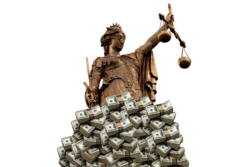 Lady Justice Behind Piles of Cash