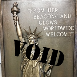 Plaque with statue of liberty stamped void