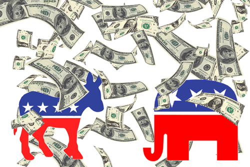 Money raining down on Democratic donkey and Republican elephant