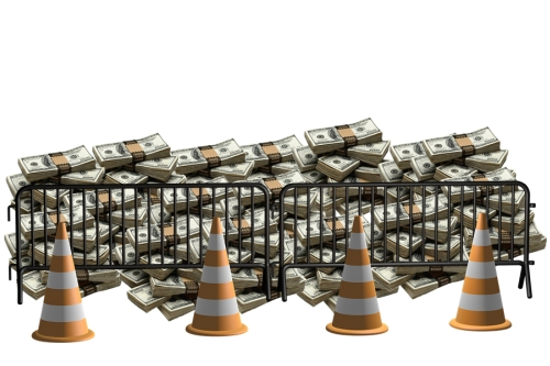 Money Behind Barrier and Road Cones