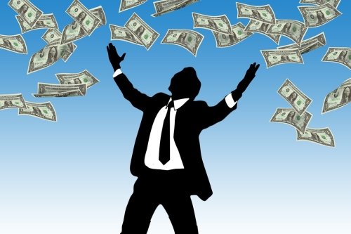 Figure in Suit Showered by Money