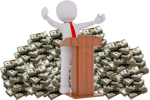 Faceless Figure at Podium in Front of a Pile of Cash
