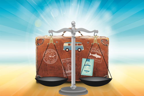 Scales of Justice with Luggage